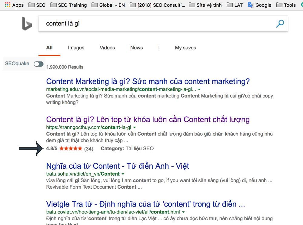 Ví dụ rich snippets trên Google (nổi bật hơn). Click xem ảnh rõ hơn!
