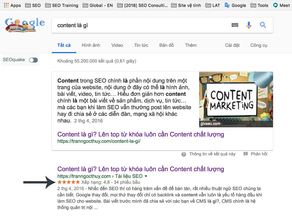 Ví dụ rich snippets trên Google